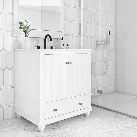 Amazon Com Dorel Living Monteray Beach 30 Inch White Bathroom Vanity 30 Furniture Decor