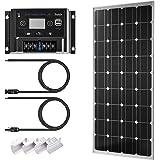 Sunix 100Watt 12Volt Monokristallines Solar-Panel + 12/24V 10A Charge Controller mit Akku Sicherung + MC4Stecker + Montage Z Klammern für netzferne 12/24Volt Akku System