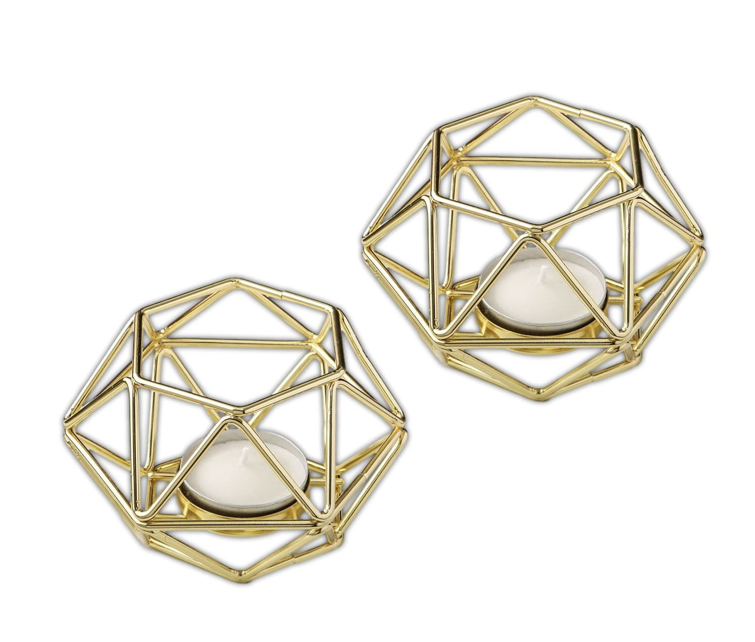 Bundle of 2 Fashioncraft 4'' Gold Geometric Hexagon Tea Light Candle Holders