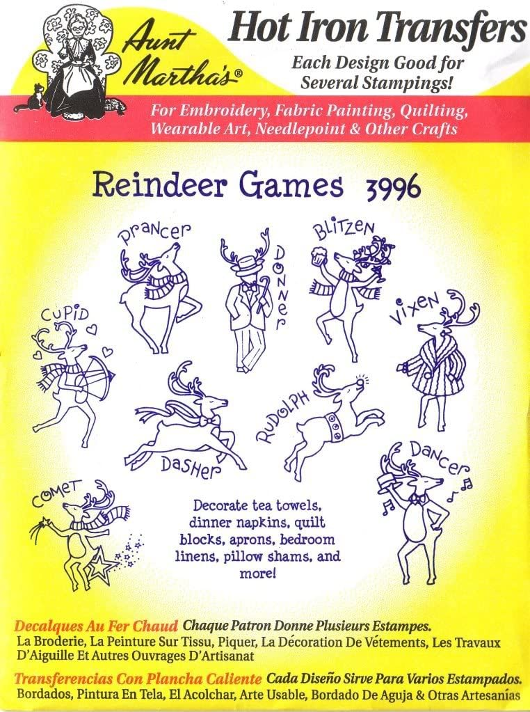 Reindeer Games Aunt Martha's Hot Iron Transfers