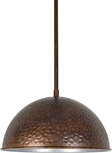 Kira Home Wren 12 Industrial Pendant Light Hammered Dome Shade, Vintage Farmhouse Metal Hanging Light Fixture, Weathered Oil Rubbed Bronze Finish