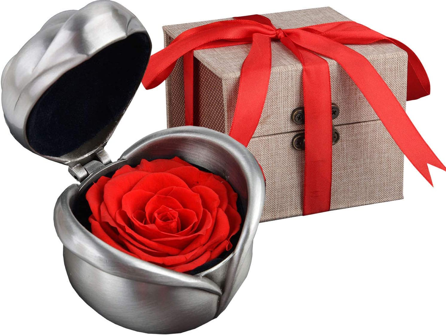 Bright Color Preserved Fresh Flower Gift Immortal Flowers Present Ring Box
