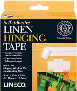 Self-Adhesive Linen Hinging Tape-White 1.25'X35'