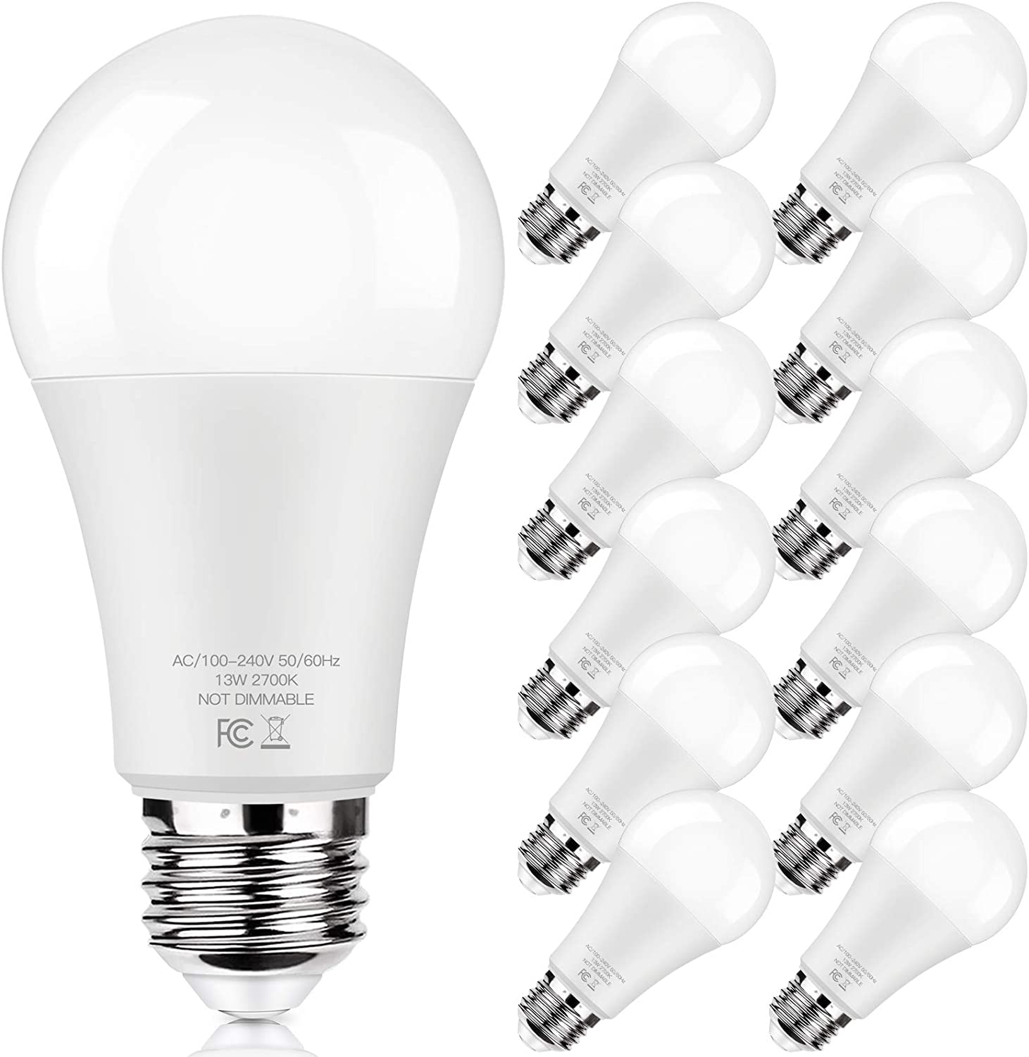LED Light Bulbs 100W Equivalent 1500 Lumens, A19 13W 2700K Warm White Non-Dimmable, Super Bright No Flicker Standard E26 Edison Screw Bulbs for Home, Bedroom, Office Lamp, 12-Pack