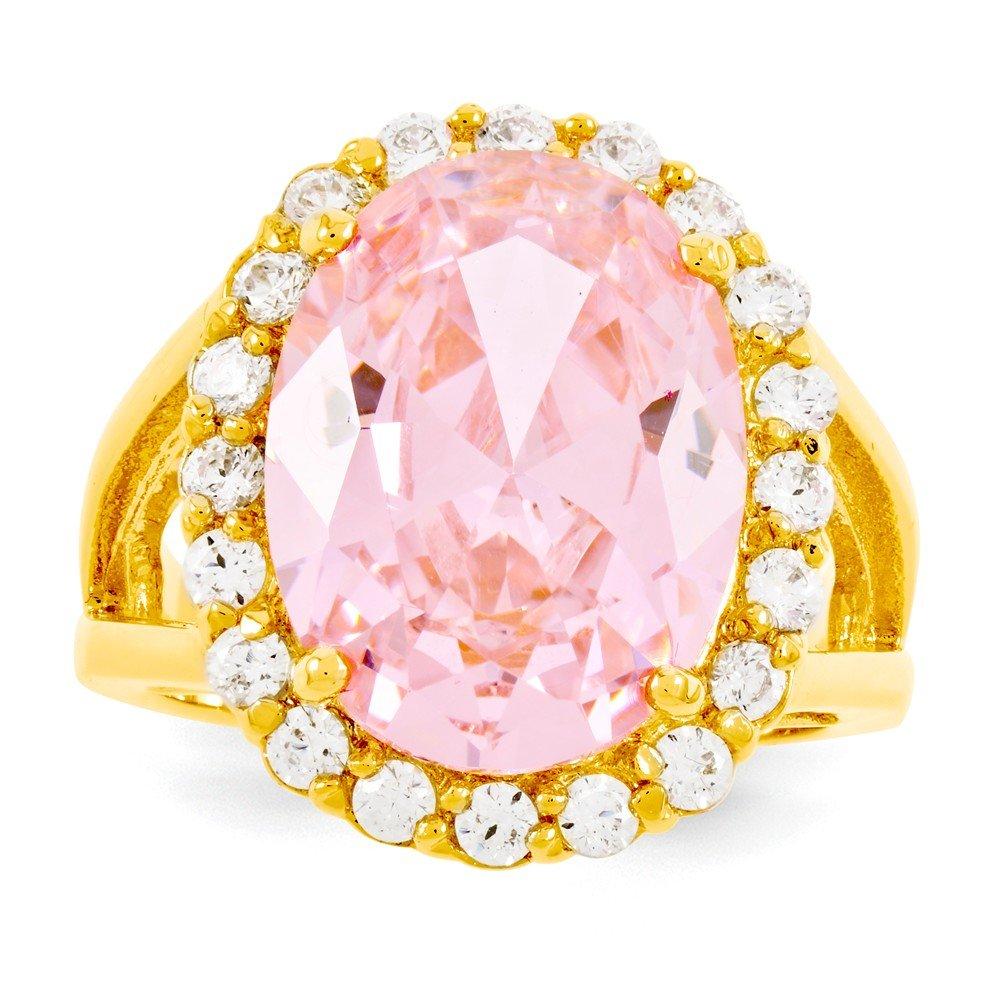 Jacqueline Kennedy Gold-Flashed Simulated Kunzite Ring - Size 5