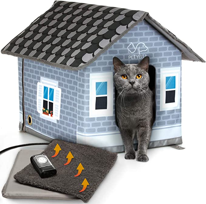 Petyella Casas Para Gatos Al Aire Libre En Invierno Casa Climatizada Para Gatos Al Aire Libre Resistente A La Intemperie Casa Para Gatos Climatizada Al Aire Libre Fácil De Montar Mascotas