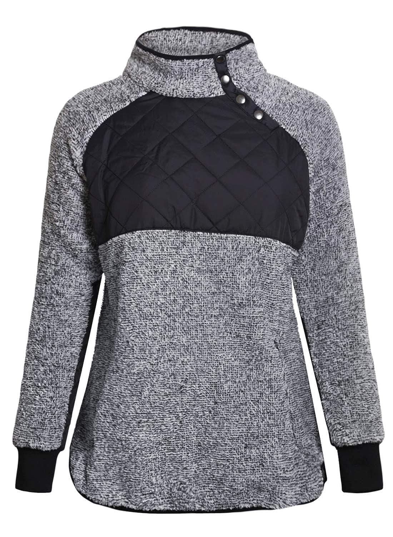 4a09d893b3 AlvaQ Women Stand Collar Buttons Fleece Pullover Sweatshirt Pockets(6  Colors S-XXL) at Amazon Women s Clothing store