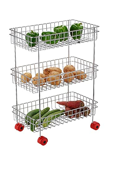 Nilkanth Stainless Steel 3 Layer Kitchen Trolley Rack