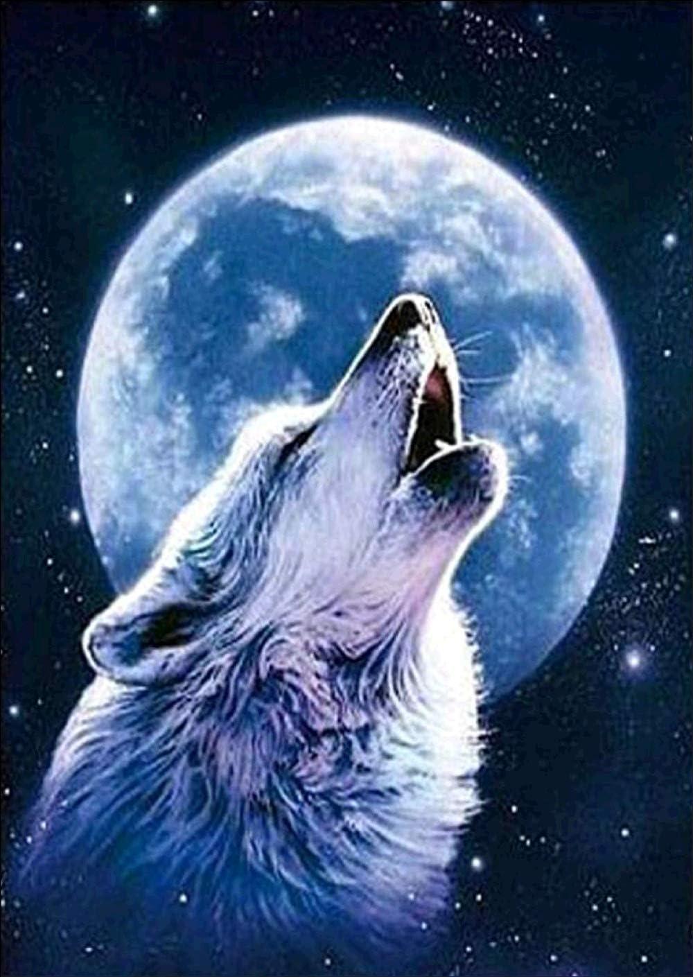 DIY 5D Diamant Painting - Wolf im Mondlicht 30x40cm