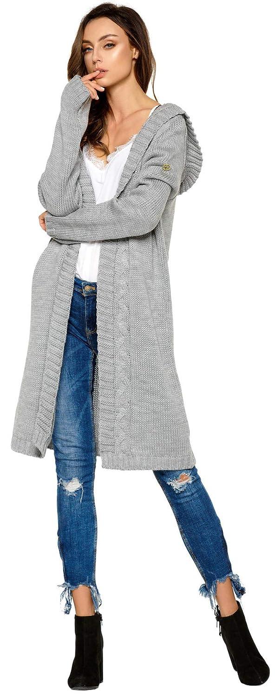 newest 8f969 dccfe Lemoniade hochwertiger, modischer Cardigan mit Kapuze Knielang -  Strickjacke Damen Jacke lang Mantel Strickmantel