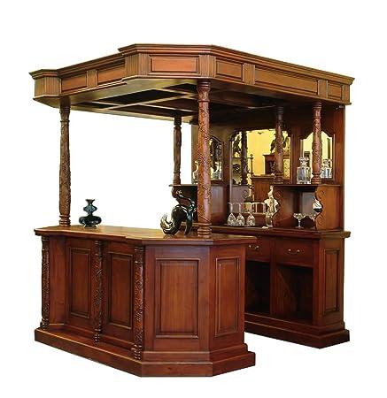 Theke Bar Aus Massivholz Im Repro Antiken Stil Amazon De Kuche