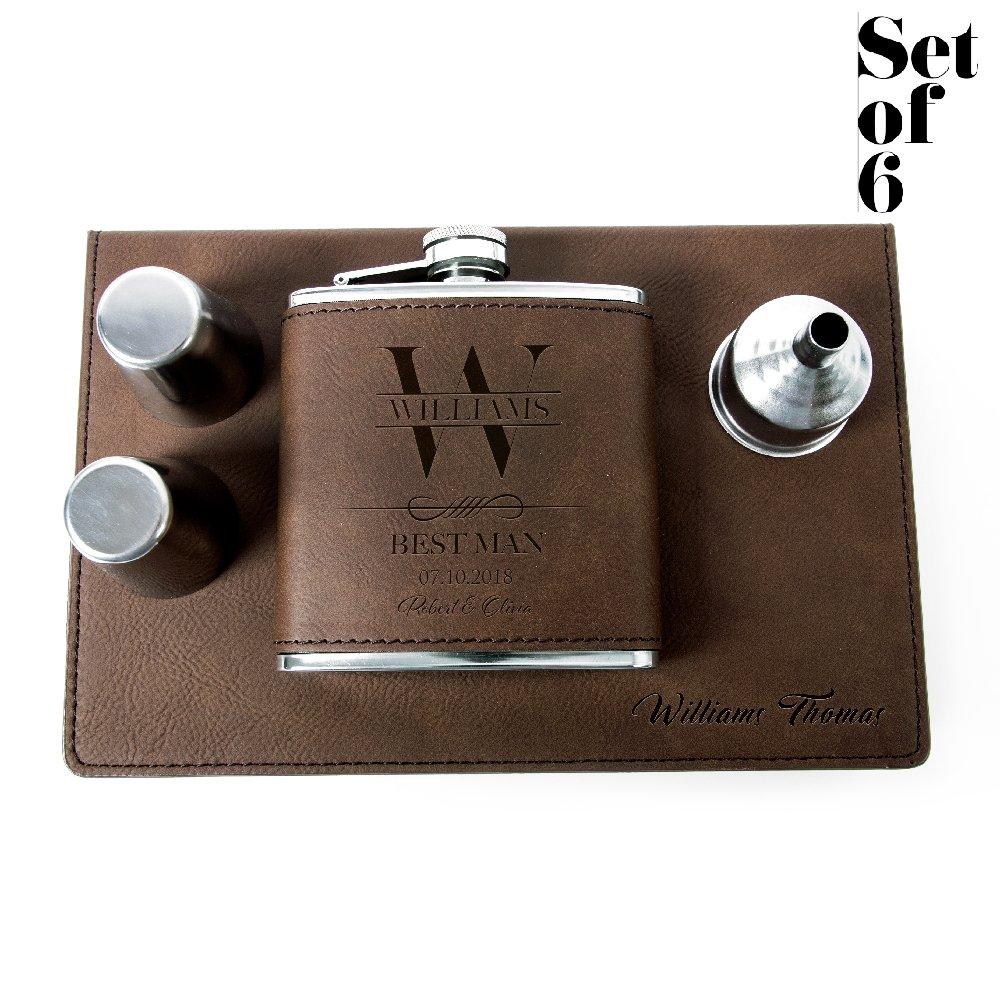 Set of 6, Set of 3, Single - Personalized Leatheratte Flask, Groomsmen Gift, Customized Groomsman Flasks, Wedding Favors, Design 6, Set of 6, Brown
