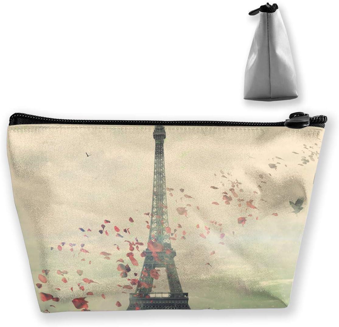 Vintage France Effiel Tower Bolsa trapezoidal a prueba de agua Bolsa de cosméticos Bolsa de maquillaje Bolsa de artículos de tocador de viaje grande Porta lápices de almacenamiento portátil