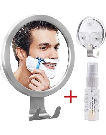 GlobaLink Espejo Antivaho Redondo Espejo Ideal para Afeitar Maquillaje Cosméticos Ducha Cuarto de Baño Pared con