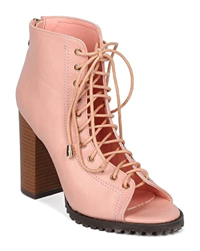 Women Block Heel Bootie - Peep Toe Lug Sole Ankle Boot - Lace Up Corset Bootie - HC76 by Love Athena Collection