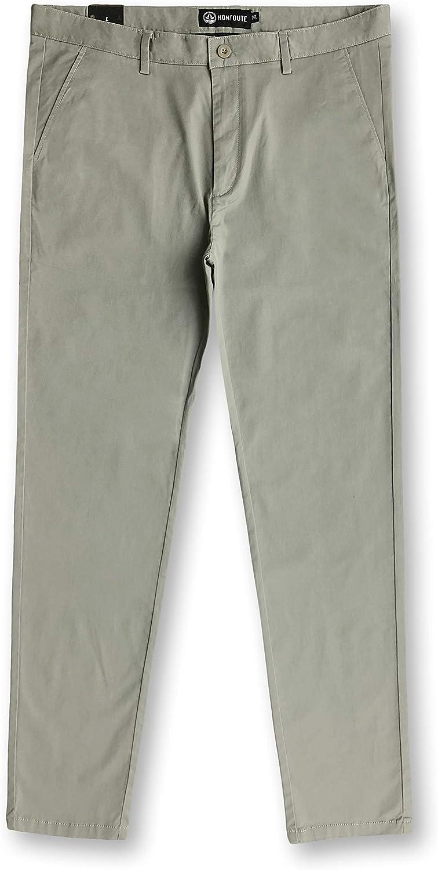 HONTOUTE Men's Chino Twill Long Pants Basic Stretch Slim Casual Plain Formal Trousers