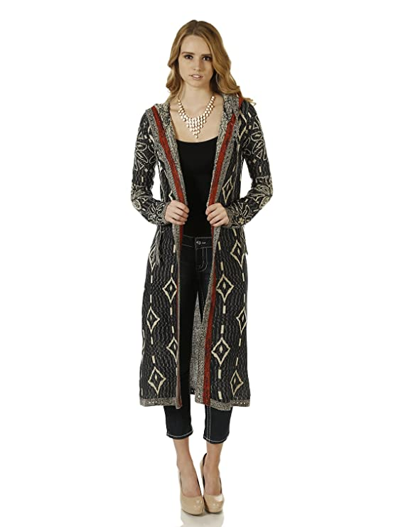 Vintage Coats & Jackets | Retro Coats and Jackets FHn Love Womens Hooded Mixed Knitted Aztec Patterned Duster $57.99 AT vintagedancer.com