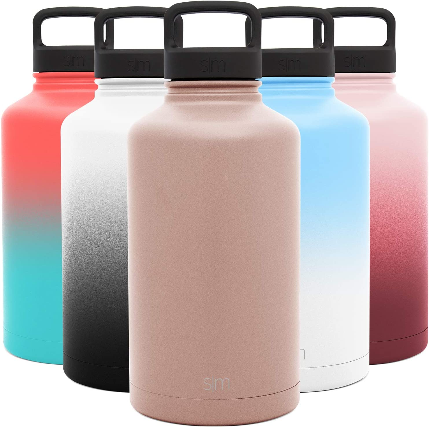 Simple Modern 64 Ounce Summit Water Bottle - Large Stainless Steel Half Gallon Flask +2 Lids - Wide Mouth Double Wall Vacuum Insulated Orange Leakproof -Rose Gold