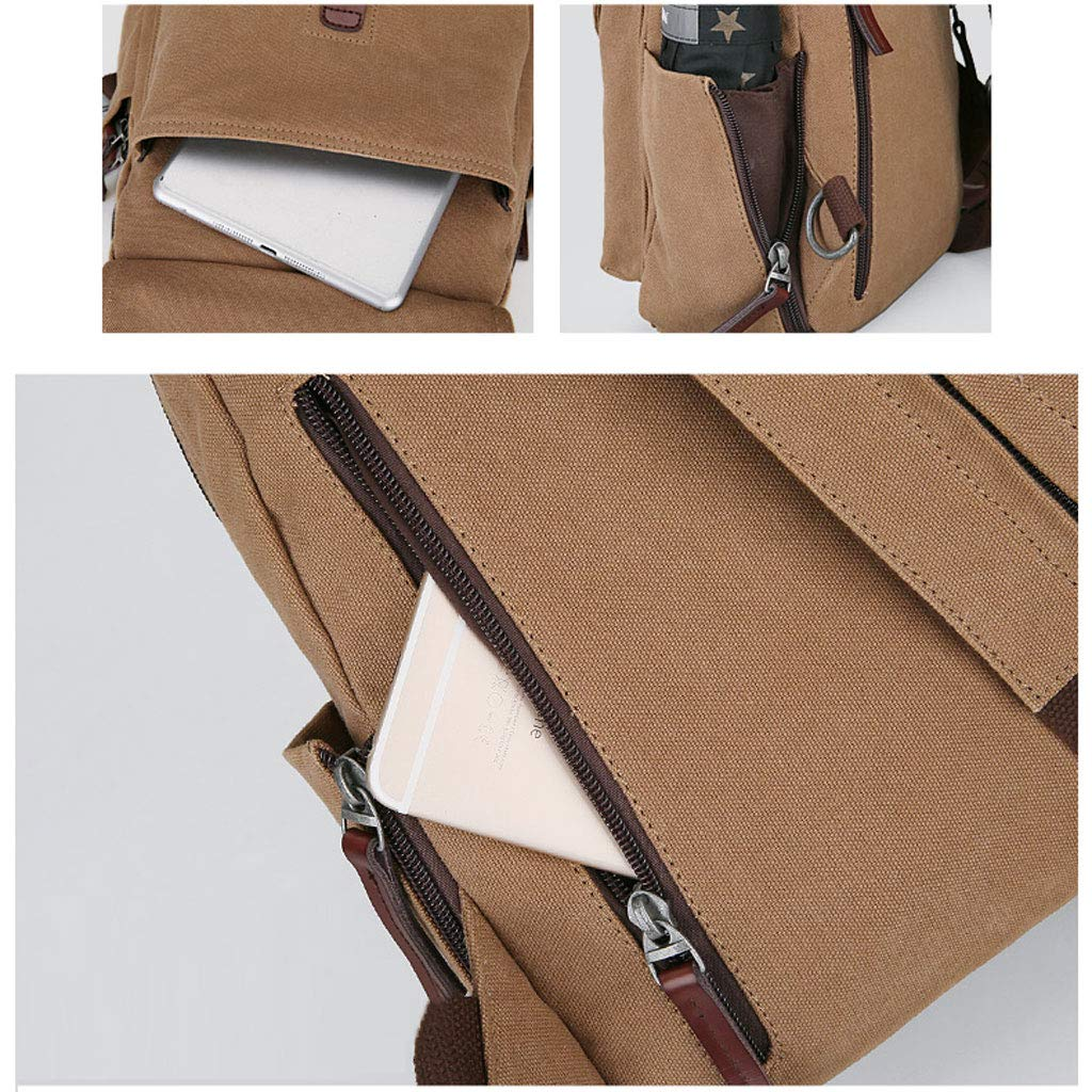 BBXZM Fashion Chest Bag Light Coffee Color Gray Color : Gray Men and Women Canvas Backpack Travel Shoulder Messenger Bag