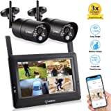 "SEQURO GuardPro DIY Long Range Wireless Video Surveillance System 7"" Touchscreen Monitor 2 Outdoor/Indoor Night Vision IP66 Weatherproof HD Network DVR Home Security IP Cameras Smartphone Access…"