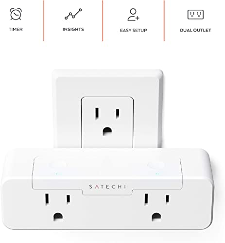 Satechi Dual Smart Outlet with Real-Time Power Monitoring – Wi-Fi Smart Plug 2.4Ghz Enabled – Works with Apple HomeKit USA, White