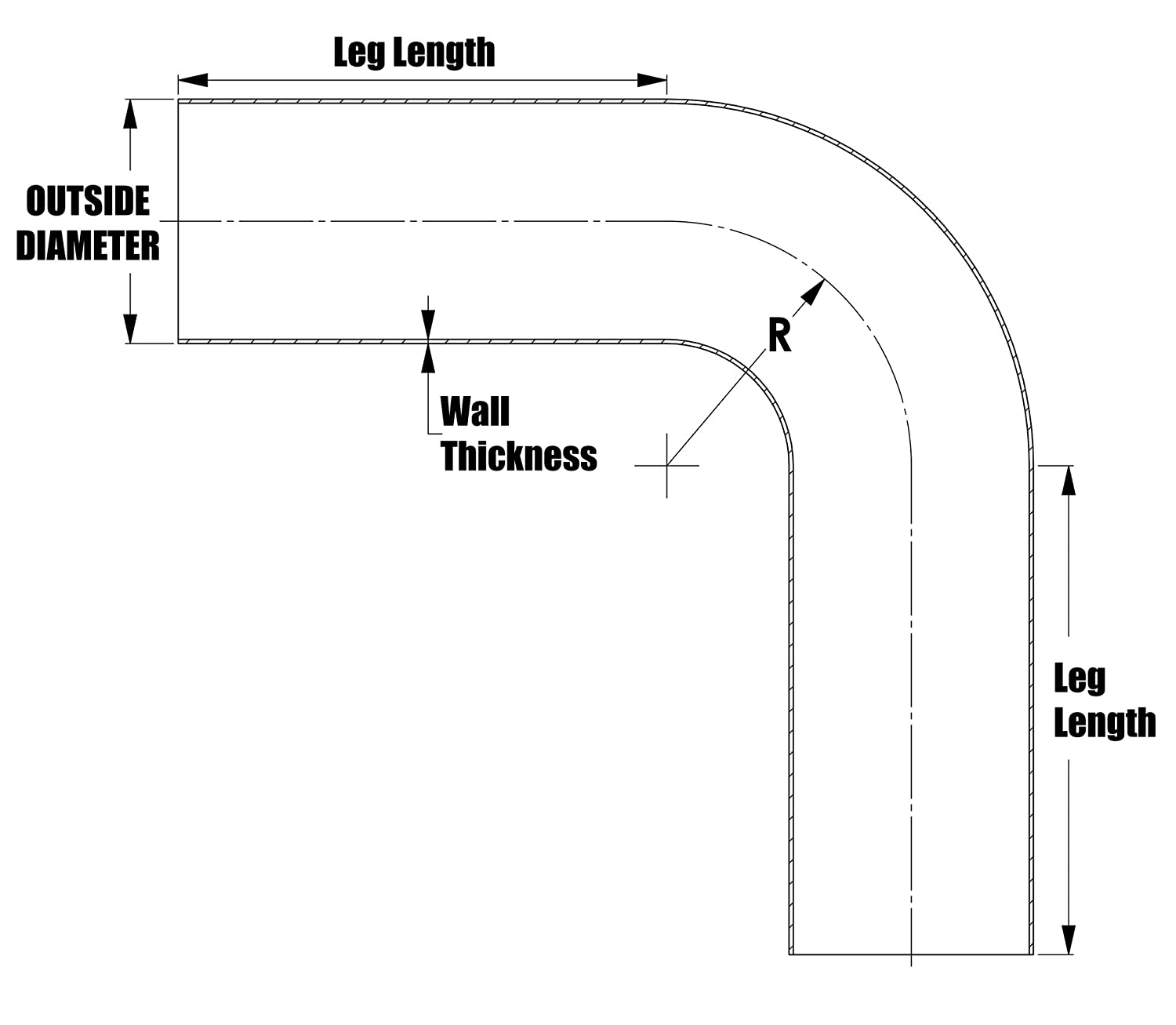 2 Clr Aluminum 6061 T6 Seamless 16 Gauge 90 Degree Bend Aluminum Elbow Tubing ALE90-91814 Wall Thickness: 0.065 1.62 OD 6 Leg Length on Each Side HPS 1-5//8 OD