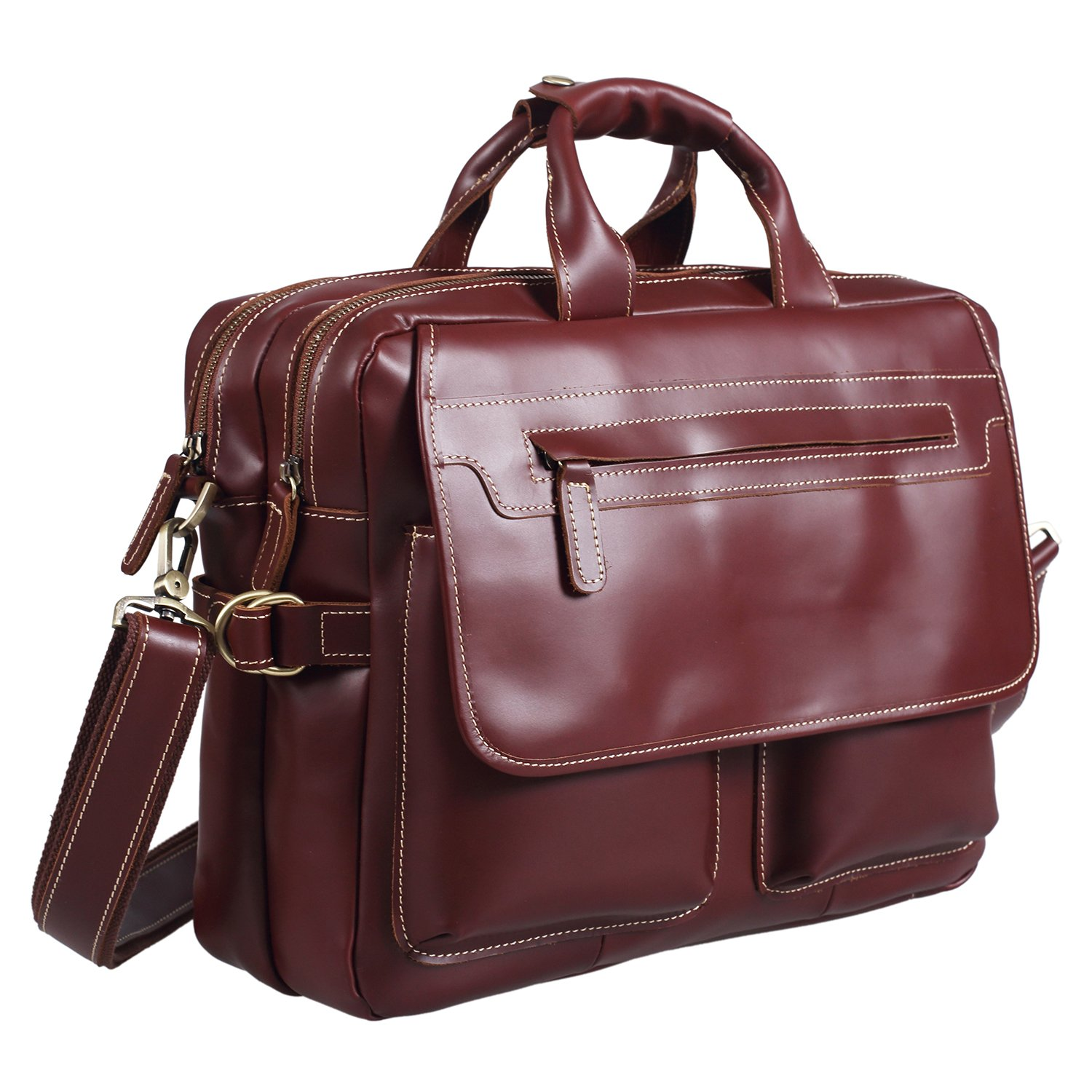 Polare Italian Leather Briefcase Should Bag Attache Fit 15.6inch Laptop