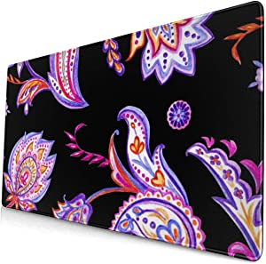 Laptop Desk Mat,Watercolor Pattern of Paisley Waterproof Desk Writing Pad for Office and Home Decor