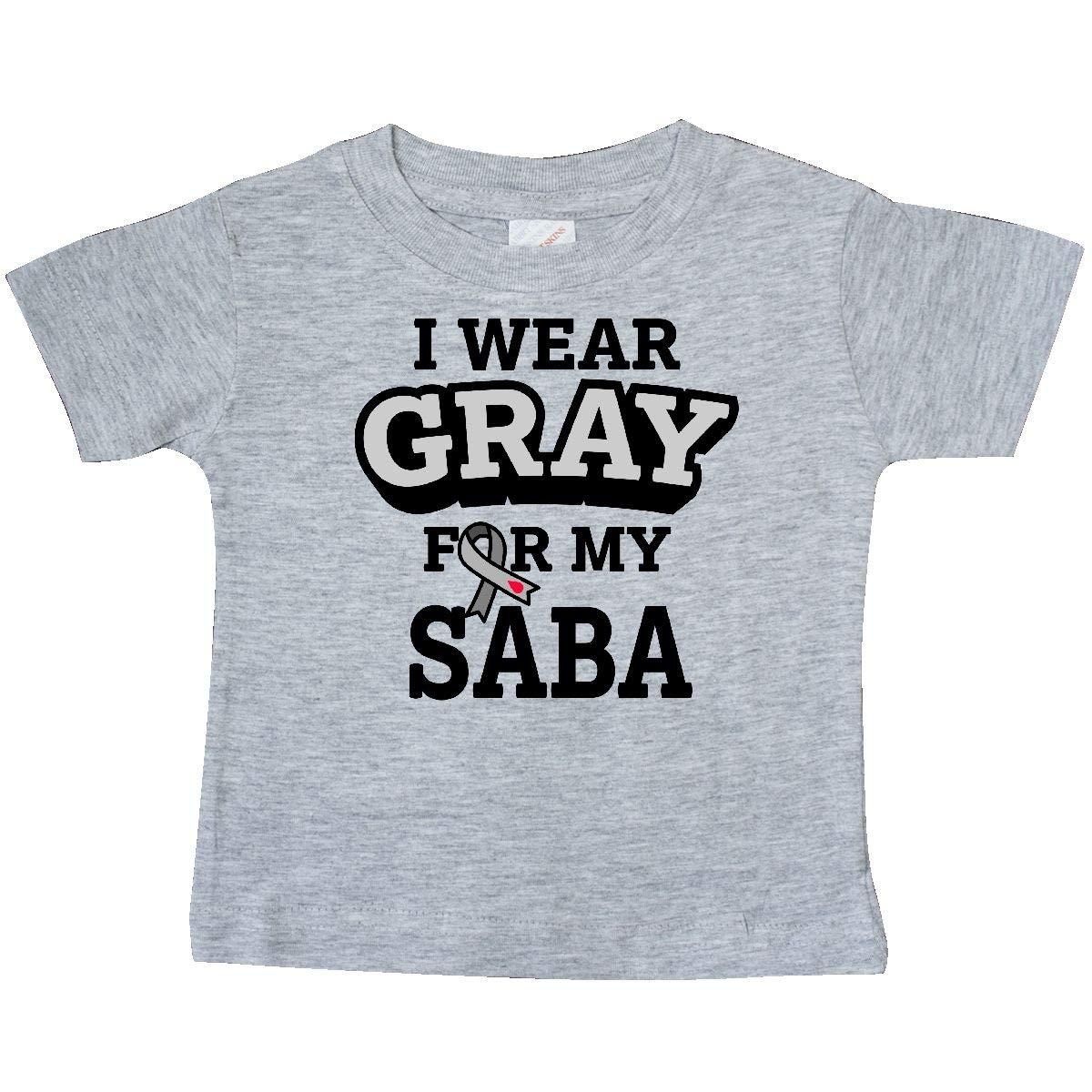 inktastic I Wear Gray for My Saba Diabetes Awareness Baby T-Shirt