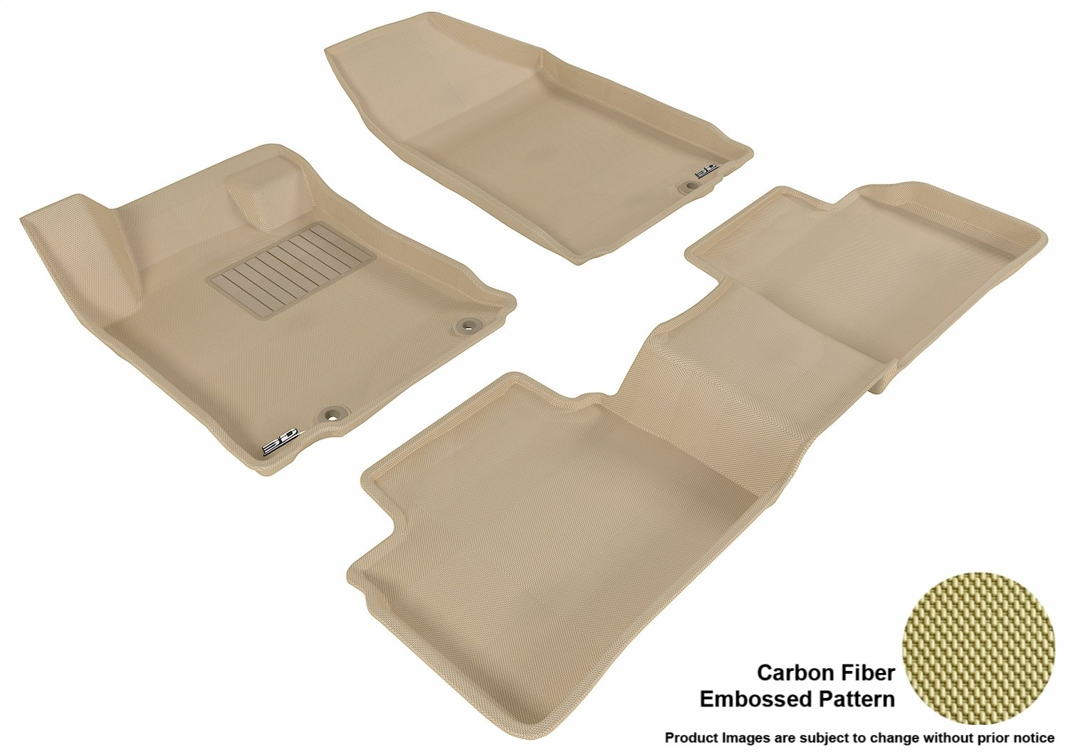 Black Kagu Rubber L1NS05711509 3D MAXpider Front Row Custom Fit All-Weather Floor Mat for Select Nissan Altima Models