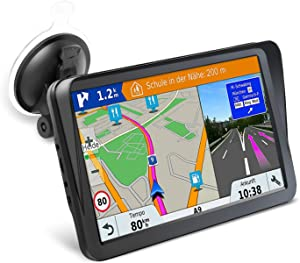 Car GPS Navigation, 9-inch HD Display with Sun Visor GPS Navigation 8GB 256MB Satellite Navigation, Voice Navigation Lane, Free map Update for Life