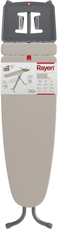 Rayen Planchar | Funda con muletón |Tabla Bandeja para la Ropa |Plancha Mangas Integrado | Dimensiones: 120,5 x 41 cm, Metal, Gris y Beige