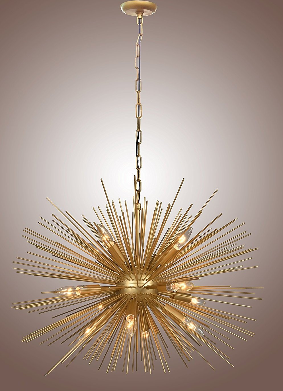 Decomust 30 Inch Astra Sputnik Satellite Pendant Light Chandelier Gold