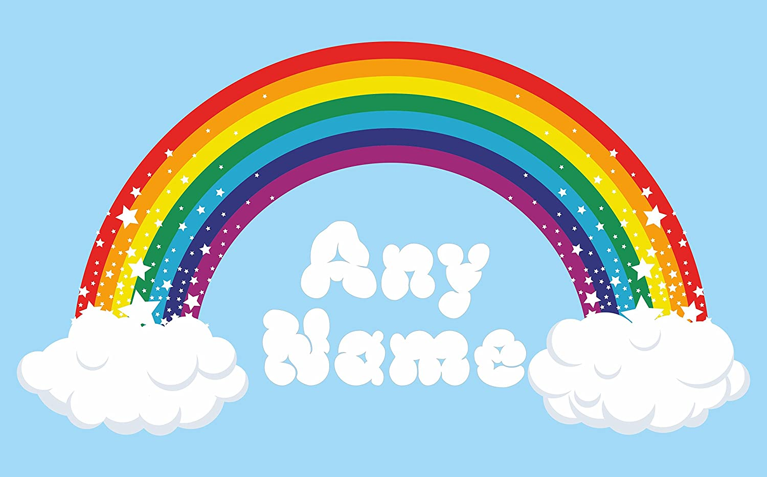 Charming Rainbow Wall Art. Choose Any Name Vinyl Sticker 3 Sizes, Full Colour Decal  (Large: 100cm X 54cm) (Large: 100cm X 54cm): Amazon.co.uk: Baby