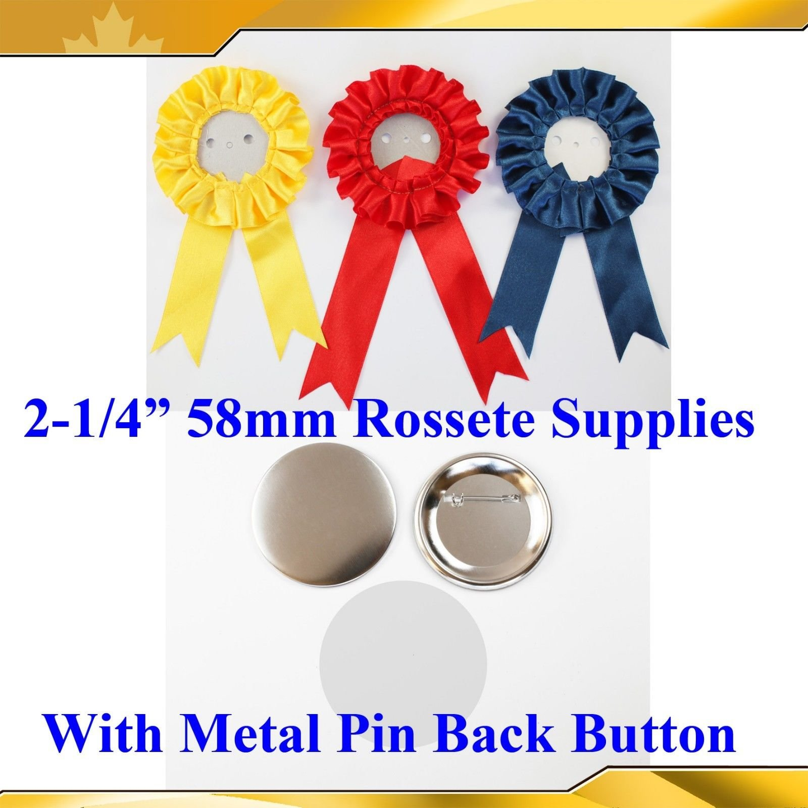 100sets 2-1/4'' 58mm Complete Rosette with Metal Pin Badge Button Supplies Maker