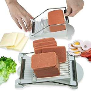 Luncheon Meat Slicer Cheese Slicers   10 Wires Stainless Steel Utensil Slicing Luncheon Meat into 11 Thinner Slices   10 Singing Cutting Wires Machine for Boiled Egg