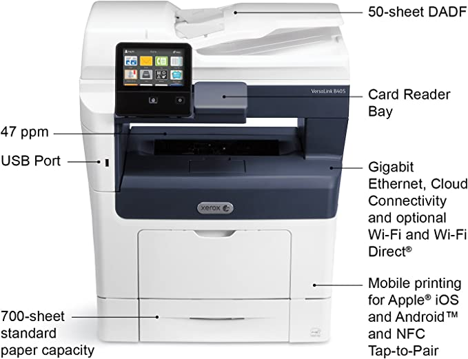 Xerox VersaLink B405/DN Monochrome Multifunction Printer, Amazon Dash Replenishment Enabled