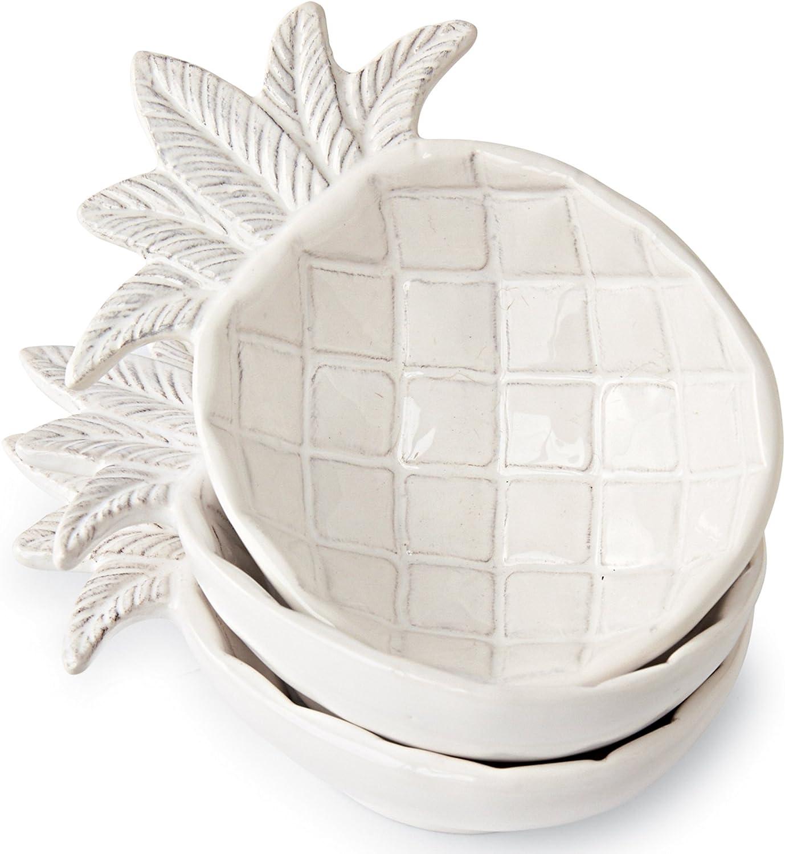 Amazon Com Mud Pie Ceramic Pineapple Shaped Dip Condiment Bowls Set Of 3 Chip Dip Sets