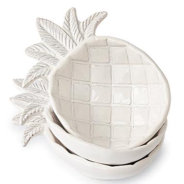 Mud Pie Ceramic Pineapple Shaped Dip Condiment Bowls (Set of 3)
