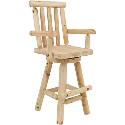 Sunnydaze Rustic Bar Stool, Log Cabin Style Unfinished Wood Construction,  4 Foot