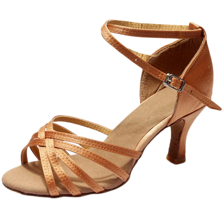 Azbro Mujer Zapato Baile Latín Correa Cruzada Puntera Abierta