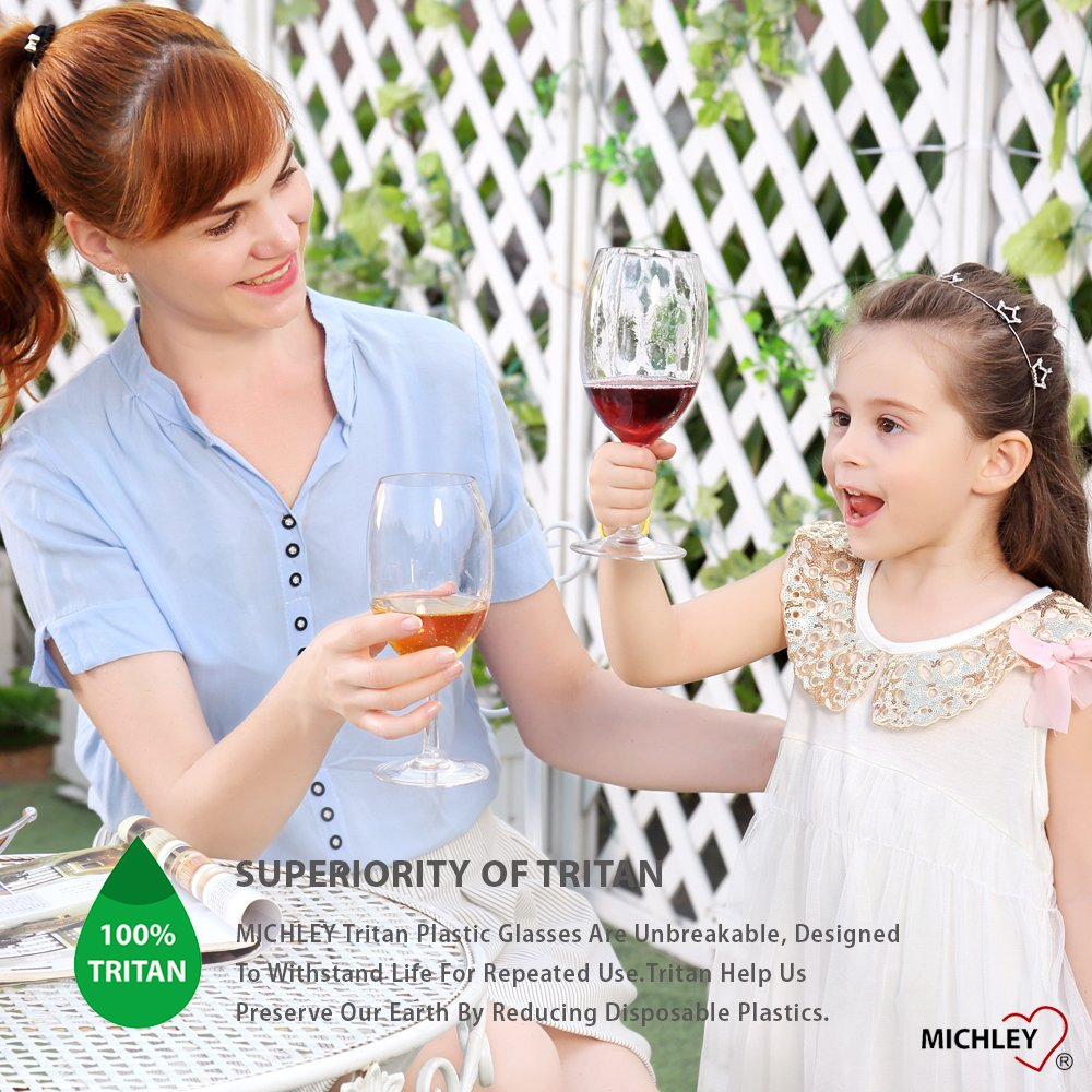 MICHLEY Unbreakable Wine Glasses, 100% Tritan Plastic Shatterproof Wine Glasses, BPA-free, Dishwasher-safe 20 oz, Set of 4 by MICHLEY (Image #5)