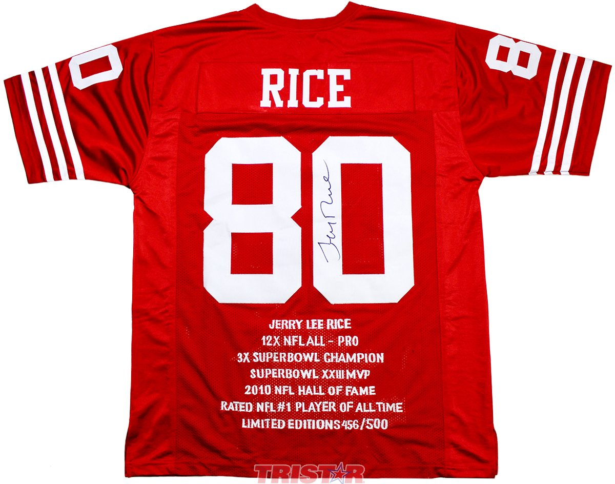 Jerry Rice Signed Autographed San Francisco 49ers Career Stat Embroidered Red Jersey TRISTAR COA TRISTAR Productions