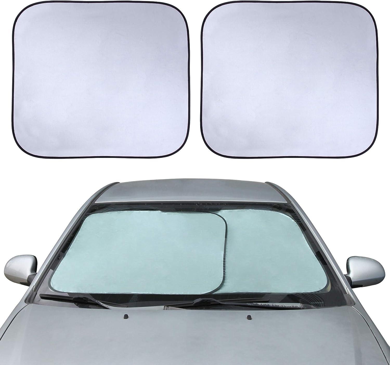 """CARTMAN Windshield Sun Shade - 49.6"""" (2pk 24.8"""") x 28"""" Car Front Window Sunshade"""
