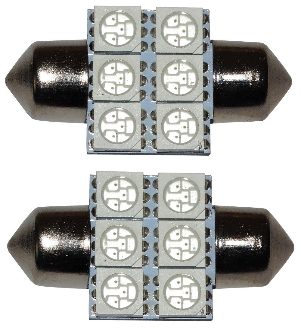 luz del techo luz de matricula del compartimiento del motor y del maletero AERZETIX: 2 x Bombillas rojo C5W 12V 6LED SMD 31mm para iluminacion interior luces umbrales de puertas