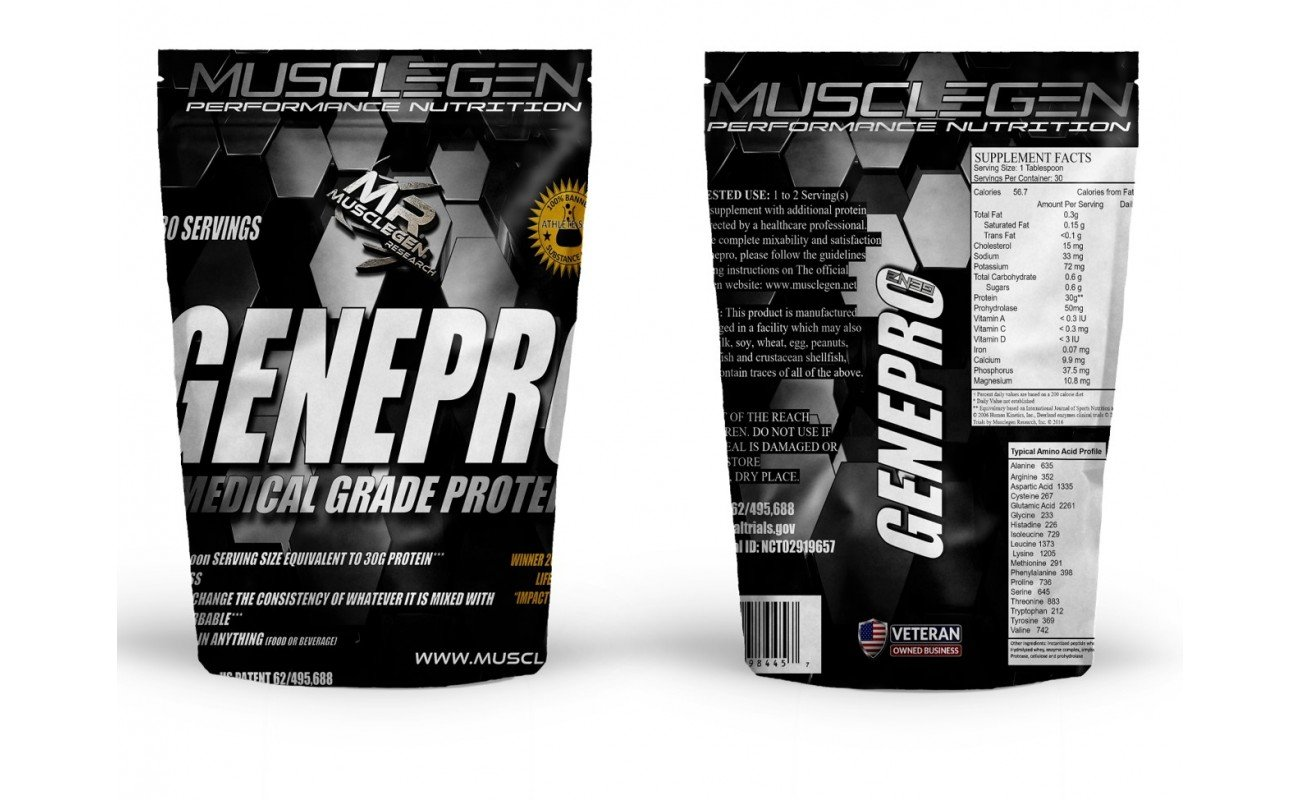 Medical Grade Protein, GENEPRO by Musclegen Research - Premium Protein for Absorption, Muscle Growth & Bariatric. Organic, Non GMO, Gluten Free, No Sugar, Flavorless and Mixes with any Drink.