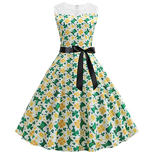 aa7b0aada Amazon.com: St. Patrick's Day Women's Shamrock Evening Print Party Prom  Swing Dress Cocktail 1950s Halter Retro Cocktail Dress: Clothing