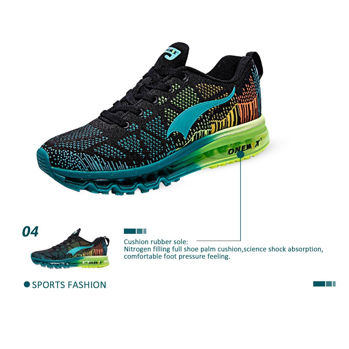 ONEMIX Women's Lightweight Air Cushion B078YJBVXC Outdoor Sport Running Shoes B078YJBVXC Cushion Womens 11(M)US/Men 9.5(M)US 43 EU|Blackblue 7b93a0