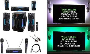 "Rockville Bluetooth Home Theater Karaoke Machine System w/8"" Sub + Wireless Mics"