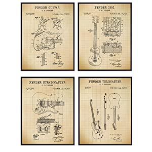 Fender Guitars Patent Art Prints - Vintage Wall Art Poster Set - Chic Rustic Home Decor for Bedroom, Game Room, Rec Room, Play Room, Man Cave, Den, Office - Gift for Musicians - 8x10 Photos - Unframed